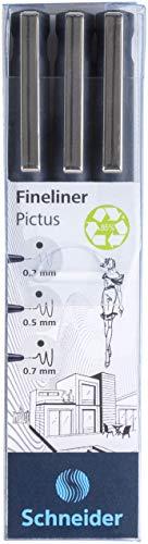 Schneider Pictus Fineliner (Strichstärken 0,3 mm, 0,5 mm, und 0,7 mm) schwarz, 3er Etui