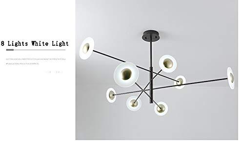 Moderna lámpara de techo LED simple de hierro forjado acrílico sombra forma rama pantalla redonda negra lámpara de lámpara de lámpara de techo lámpara de dormitorio sala de estar cocina estudio Estilo europeo Size blanco