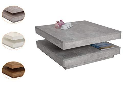 Funktionscouchtisch Ben, Dekor Betonoptik, 360° drehbar, 78 x 78 x 34 cm