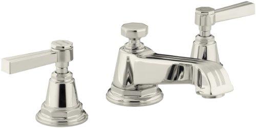 KOHLER WC-Armatur mit Nadelstreifen, mit Hebelgriffen Leuchtendes poliertes Nickel