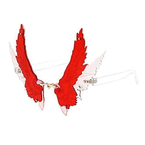 oshhni Óculos de sol de tamanho grande exclusivo Angel Wing Eagle Wing Óculos de festa Irregular UV400 - vermelho