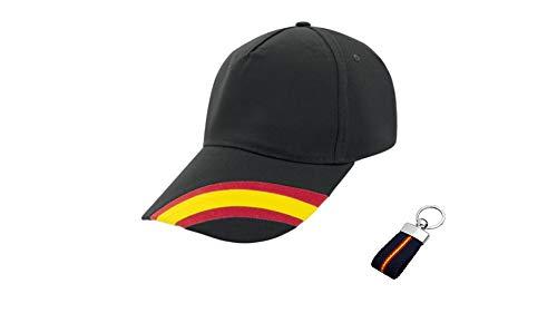 Desconocida Gorra Negra Bandera España Regulable Hombre y Mujer Incluido Llavero Lona Bandera de España a Juego. Accesorio Deportivo Padel, Golf, Tenis, Vestimenta Casual Unisex.