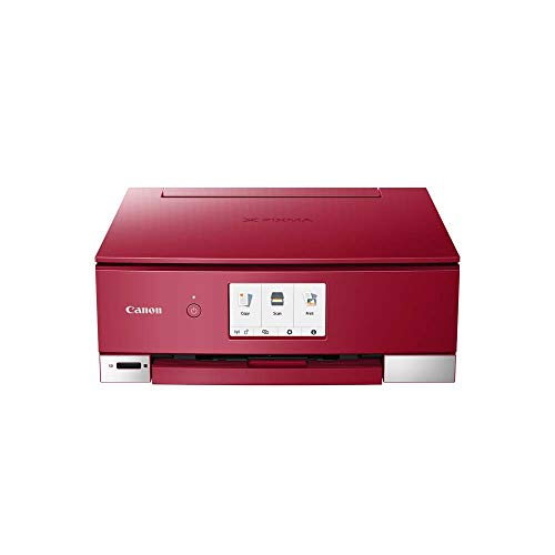 Canon PIXMA TS8352 Drucker Farbtintenstrahl Multifunktionsgerät DIN A4 (Scanner, Kopierer, 4.800 x 1.200 dpi, 6 separate Tinten, USB, WLAN, Duplexdruck, 2 Papierzuführungen, 5 GHz Support), rot