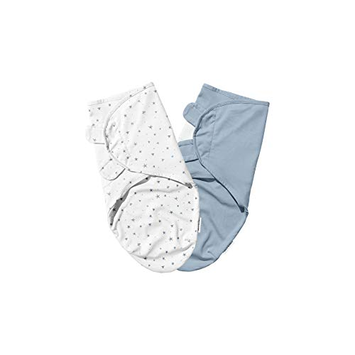 Ely amp Co Swaddleez Adjustable Baby Swaddle Wrap 2Pack  100% Cotton for Baby Boy from 03 Months — Dusty Blue Stars amp Solid Dusty Blue