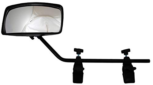 attwood 13066-7 Universal Adjustable Clamp-On Water Ski Rear View Boat Mirror, Black