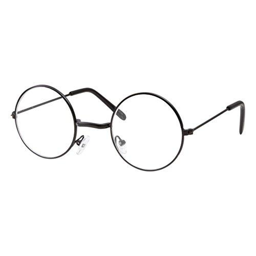 grinderPUNCH Kids Size Non-Prescription Glasses Round Circle Frame Clear Lens Costume (Age 3-10) Black
