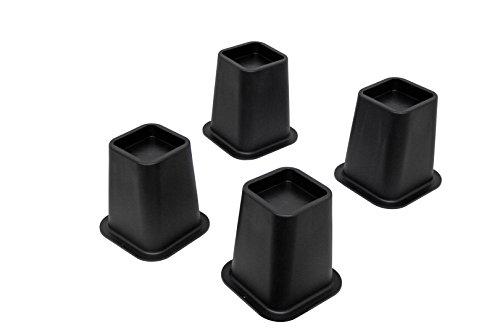 5'Negro Cama elevadores, para muebles, camas, mesas, sillas, sofás (Juego de cuatro)