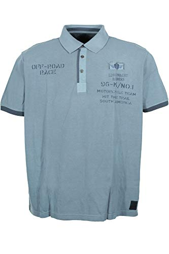 Kitaro Poloshirt Polo Shirt Herren Kurzarm Baumwolle Piqué Plusgröße, Herrengrößen:8XL, Farbe:blau