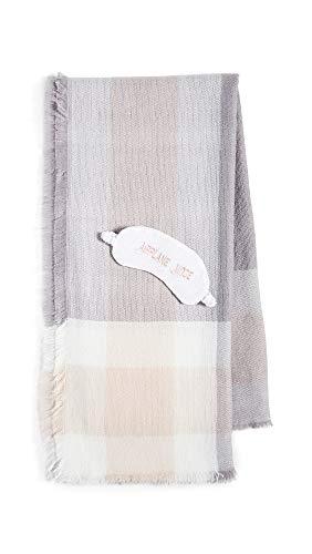 Shopbop @Home Women's Airplane Mode Blanket & Eye Mask Set, Blush, Pink, Plaid, One Size