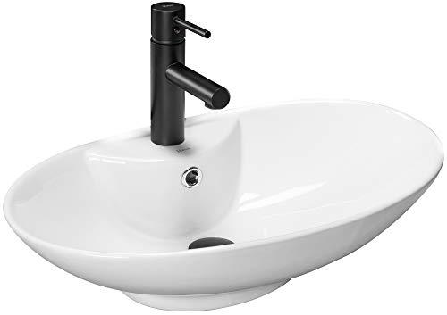 VBChome Waschbecken 59 x 39 Keramik Oval Waschtisch Handwaschbecken mit Loch für Armatur AUFSATZWASCHBECKEN WASCHSCHALE GÄSTE WC