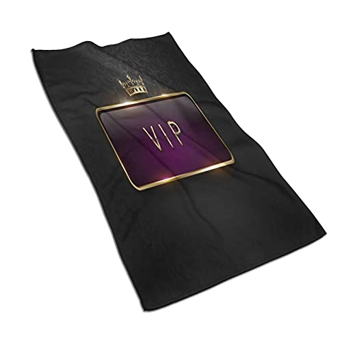 CIKYOWAY Toalla de Mano VIP Royal Purple Label con Marco Dorado y Corona sobre Fondo de patrón Floral Negro Toalla de baño pequeña para baño,Manos,Cara,Gimnasio y SPA Absorbente Suave 40x70cm