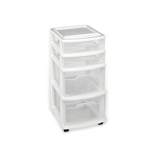 [$32.77] Homz Plastic 4 Drawer Medium Cart, White Frame with Clear Drawers, Casters, Set of 1  2