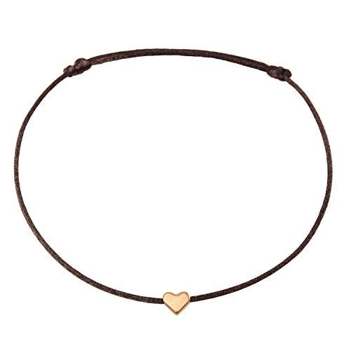 Fußkettchen Herz Roségold auf braunem Satinband - Größenverstellbar Selfmade Jewelry Handmade Fußbändchen (Rosegold)