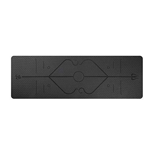 LRHYG Yogamatte Fitnessmatte rutschfest Wasserdicht Dicke 6mm Mit Körperausrichtung TPE Fitnessmatte 183x61cm (Color : Black)