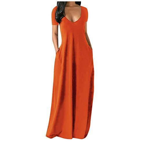aijofi Sommerkleid Damen Elegant Strandkleider Langer Einfarbig Kleider Maxikleider Böhmisch Kleid Tief V Mode Beiläufige MaxiKleid Große Größen