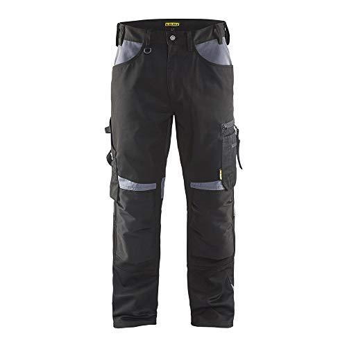 Blaklader 155618609994D100 - Pantalones de trabajo sin bolsillos para clavos, color negro/gris, talla D100
