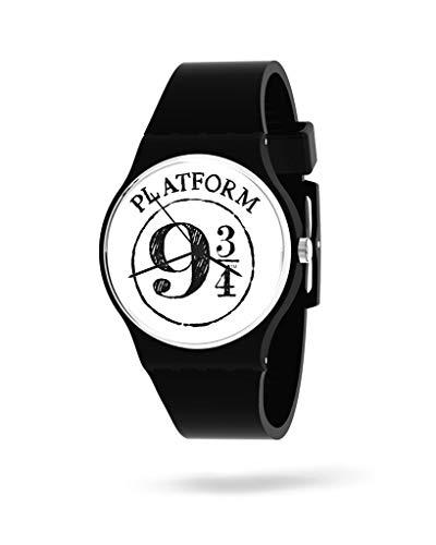 PANAPOP | King'S Cross | Reloj de Pulsera para Mujer con Correa Negra de Silicona, Anden 9 3/4, Harry Potter Licencia Oficial