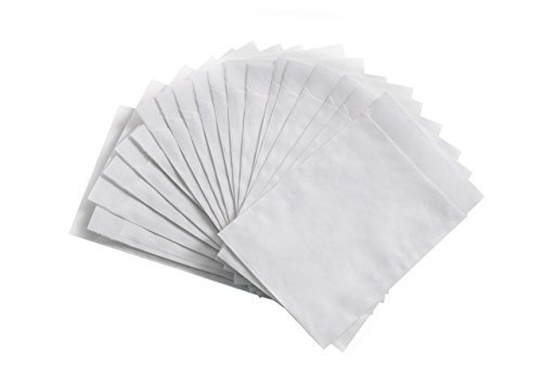 50 Stück kleine weiße Papiertüten Papier-Flachbeutel 10,5 x 15 cm, Geschenktüte Tischkarte - Verpackung Gastgeschenke Mitgebsel give away befüllen Papier-Beutel mini Papier-Sterne basteln