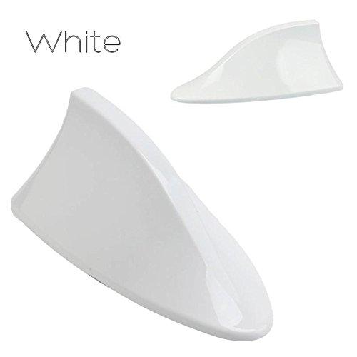 Umisu - Antena de coche con alerón de tiburón, antena de techo AM FM, señal de radio universal para coche, accesorio decorativo, color blanco