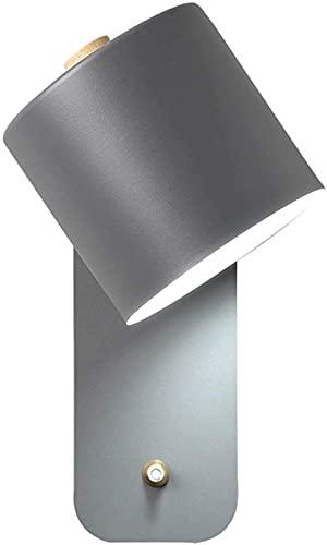 KDLAK Aplique de pared de madera ajustable con interruptor, pantalla de metal, luz blanca de 6000 K, enchufe E27, lámpara de pared LED para mesita de noche, dormitorio, pasillo