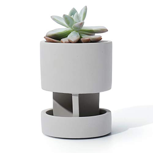 POTEY 054101 Concrete Plant Pot for Small Plants Succulent Cactus - 4.1 Inch Nature Cement Planter Indoor with Drainage Hole & Saucer(Plant NOT Included)
