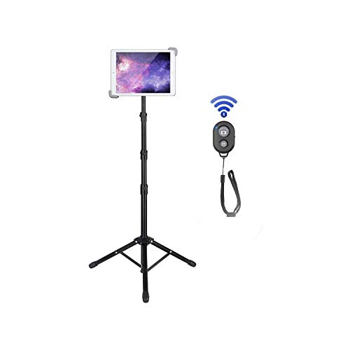 "IPad Tripod Stand, Loaiaesa Floor Tablet Stand, Foldable Height Adjustable 360 Rotating for Ipad Pro 12.9""/11"", Ipad Air 10.5"", Ipad 9.7'' and All 9.5-14.5 Inch Tablets, Bluetooth Remote Control"