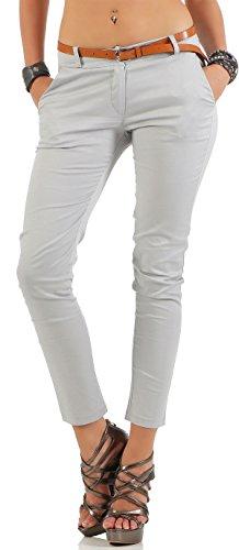 Malito Damen Chinohose mit Gürtel   Stretch Caprihose   schicke Freizeithose   Skinny - Slimfit - elegant 5388 (hellgrau, XL)