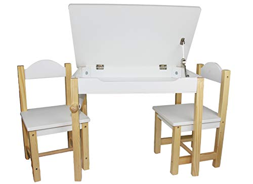 EasY FoxY ToY Wooden-Kids-Table-and-Chairs-Set, Toddler-Desk-with-Storage Alpine White, Lego Table with Storage Organizer for Boy Girl Age 3 to 6, Children Picnic Play Furniture
