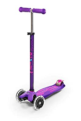 Micro Kickboard - Maxi Deluxe LED - Three Wheeled, Lean-to-Steer Swiss-Designed Micro Scooter for Kids with Motion-Activated Light-Up Wheels for Ages 5-12 (Purple)