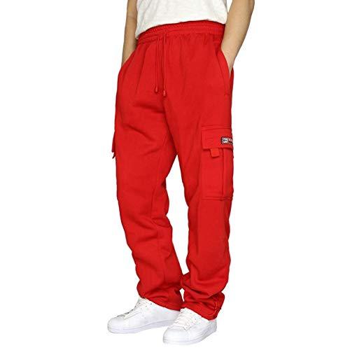 Pantalones Cargo para Hombre, Pantalones de chándal, Pantalones de Bolsillo de Color sólido para Cintura Suelta para niños, Pantalones Deportivos Sueltos (Rojo, XXL)