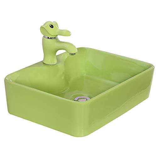 Waschplätze Waschbecken Waschbecken Kindergarten Über Dem Aufsatzbecken Kinderwaschbecken Haushaltsreinigungsbecken (Color : Green, Size : 36 * 36 * 14cm)