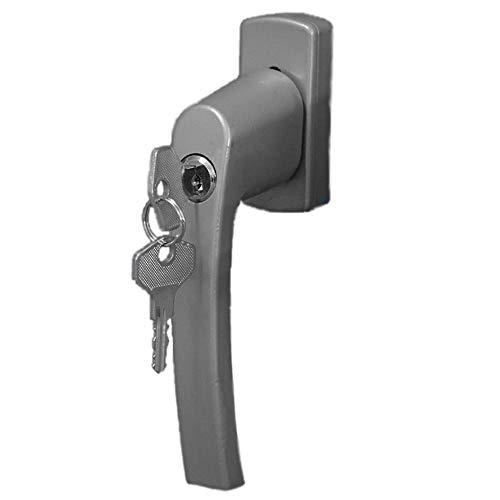 """*TOP & SICHER* TEG24 - 1 Stück massiver STAHL Sicherheitsgriff ABSCHLIEßBAR in """"SILBER"""" - für alle gängigen Fenster- & Türenelemente"""