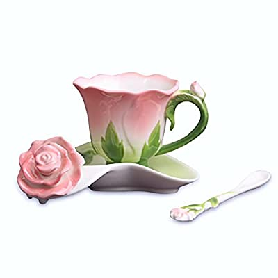 Beddinginn Hand Crafted Collection Porcelain Coffee Tea Cup Sets with Saucer and Spoon Rose Shape Design?Pink?