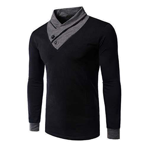 Men T-Shirt Men Sweatshirt Slim Fit High Collar Fashion Trend Comfortable Fabrics Long Sleeves Spring and Autumn Running Top Fitness Clothing Men Top Black_ XXL