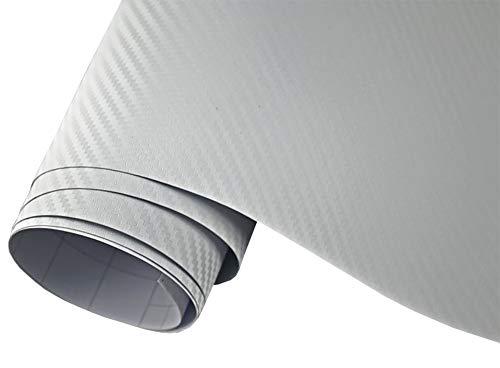Neoxxim 4,60€/m2 Premium - Auto Folie - 3D Carbon Folie - Weiss 100 x 150 cm - blasenfrei mit Luftkanälen ca. 0,16mm dick