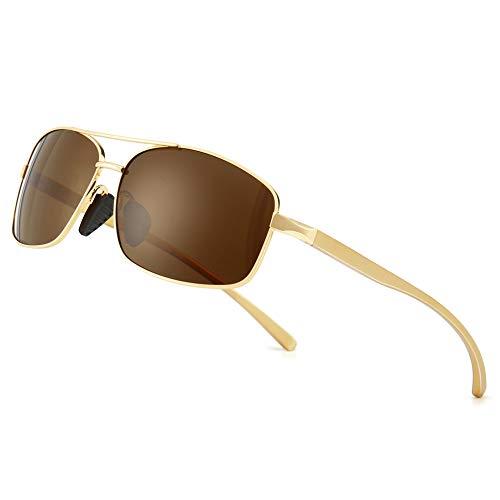 SUNGAIT Retro Rectangulares Gafas de sol Hombre Polarizadas Clásico metal Marc Oro/Marrón 2458