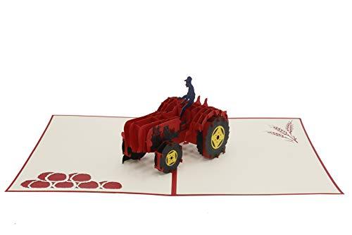 Tractor, rood, oldtimer, trekker, sleepper, boerderij, boerderij, boer, 3D-vouwkaart, pop-up kaart, wenskaart, wenskaart, cadeaukaart