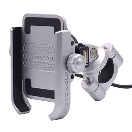 ニコマク NikoMaku バイク スマホホルダー 自転車 USB電源付き 充電可能 固定力抜群 アルミ製 オートバイ ハンドルに取り付け 4~6.6インチ携帯に対応 設置簡単 シルバー