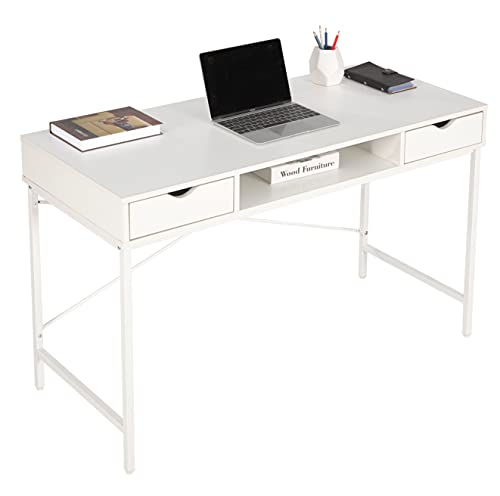 JJS 48' Writing Desk with Drawers, Contemporary Home Office Large Computer Laptop Workstation with Storage, White Drawer