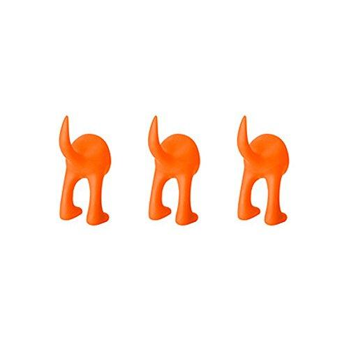 Ikea Haken-Set für Hüte, Mäntel, Schlüssel, Design: Hundeschwanz, Wandmontage, 3 Stück Orange