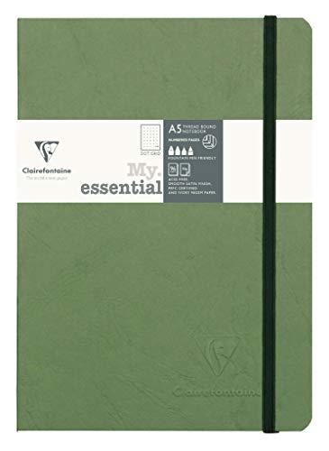 Clairefontaine 793433C Notizbuch AgeBag My Essentials, DIN A5, 14,8 x 21 cm, 96 Blatt, dot, nummeriert, 90g, 1 Stück, grün