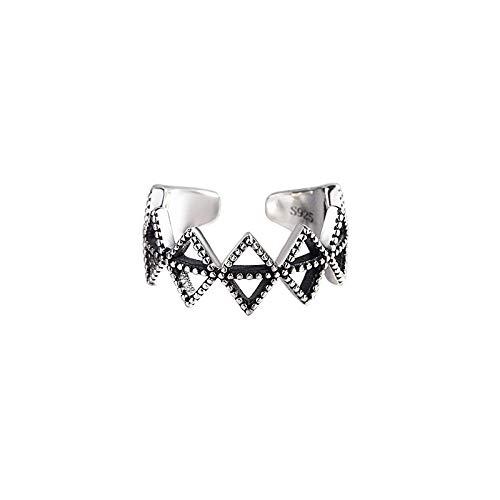 Damen Ring 925 Sterling Silber Verstellbar,Punk Vintage Schwarz Zirkon Böhmischen Ring Für Frauen Schmuck Antiken Finger Verlobungsring Party Geschenk
