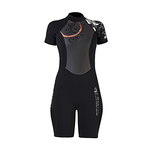 Shorty Neoprenanzug, 3MM Neopren Thermal Badeanzug, Einteiliges kurzes Ärmel Neoprenanzüge für Erwachsene Damen Herren