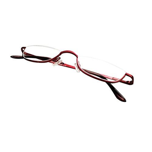 Inlefen Unisex Halbmond Halbrahmen Lesebrille Metall Material rahmen Frühling Scharniere Brillen (rot/+1.5)