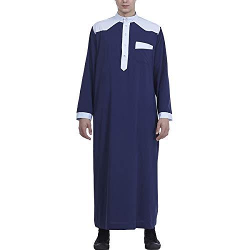 LZJDS Vestido árabe de Oriente Medio para hombre, color a juego, camisón vintage, pijama abrigo de S a 3XL, azul, M