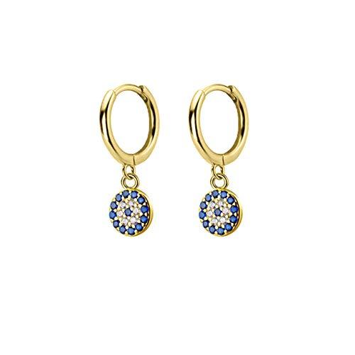 925 Sterling Silber Runde Gold Blaue Augentropfen Ohrring Hochwertige Runde Cz Zirkon Luxus Evil Ohrring Schmuck
