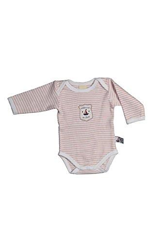 Hansekind Body Langarm, rosa-gestreift, 50-56 für Kinder/Babys