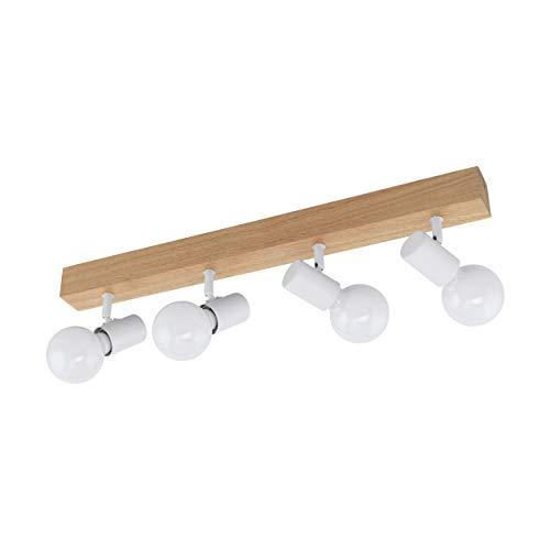 EGLO Townshend 3 Lámpara de techo con focos, 60 W, Braun, Weiss