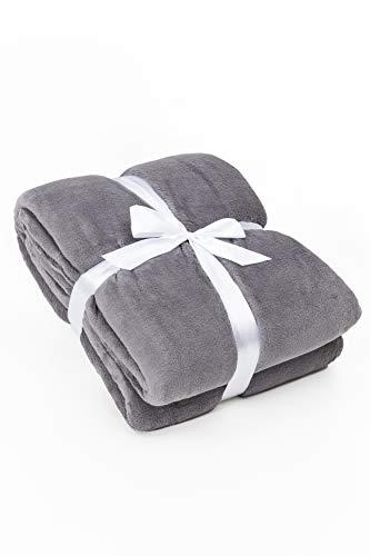 myHomery Kuscheldecke fürs Sofa aus Coral Fleece - Decke - Wolldecke warm & kuschelig - Sofadecke XL - Wohndecke gemütlich - Anthrazit | 220 x 240 cm
