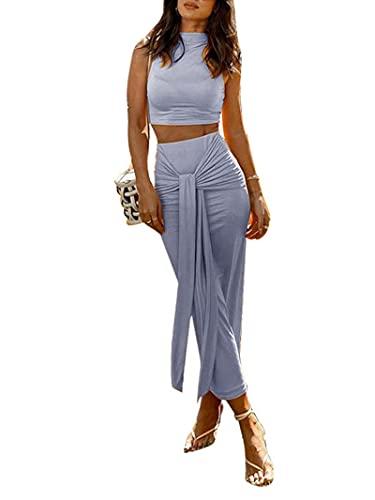 Conjunto de ropa sexy sin mangas de dos piezas para mujer, chaleco de cuello alto y cintura alta para atar maxi falda club Streetwear